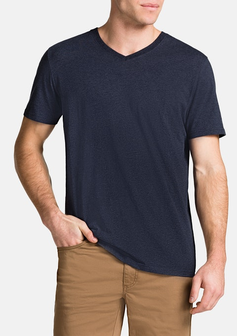 Navy Marle Essential V-neck Tee