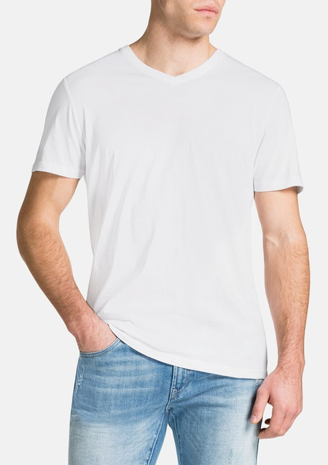 White Essential V-neck Tee
