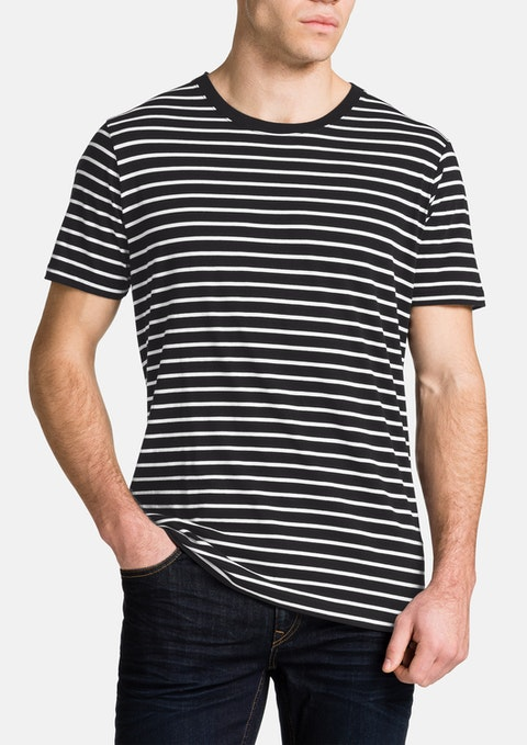 Black Brenton Stripe Crew Neck Tee