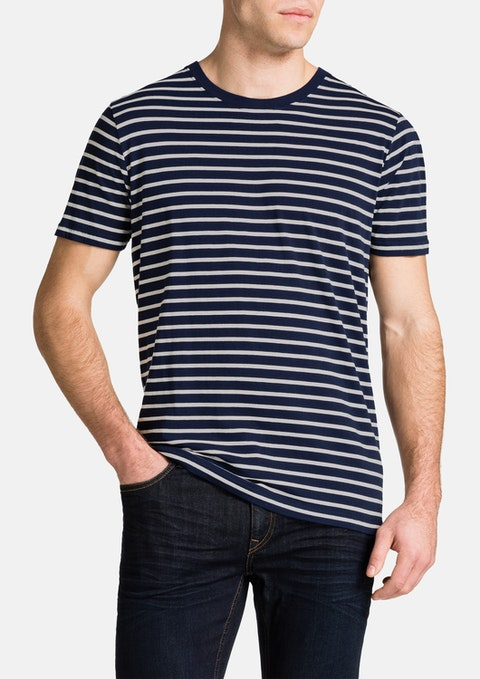 Navy Brenton Stripe Crew Neck Tee