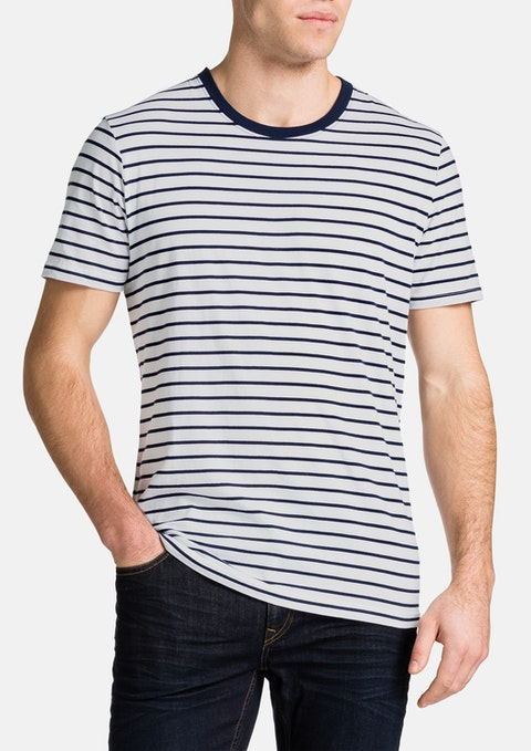 White Brenton Stripe Crew Neck Tee