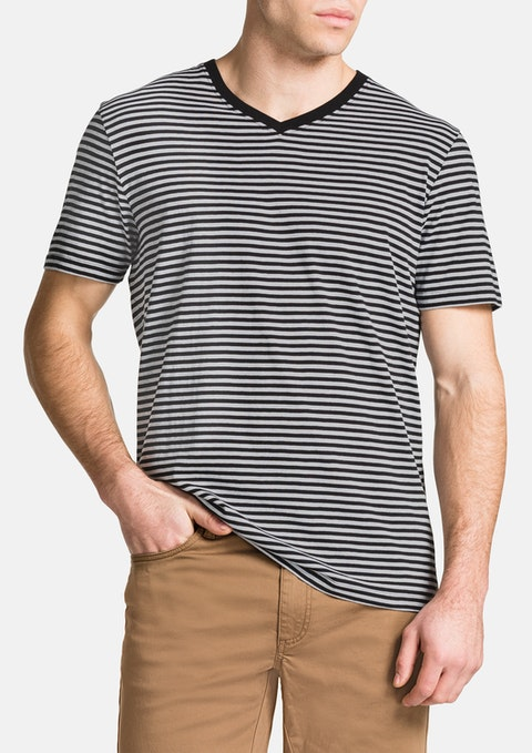Black Jasper V-neck Stripe Tee