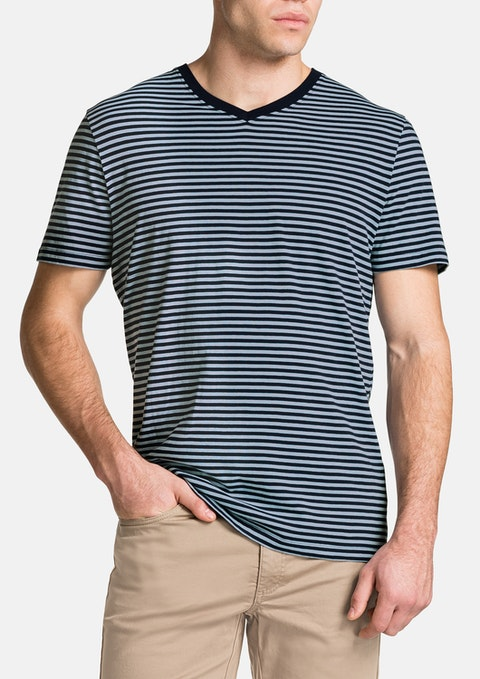 Blue Jasper V-neck Stripe Tee