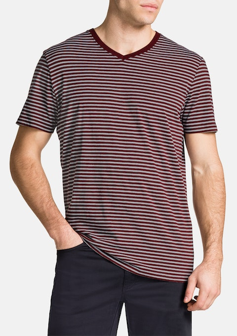 Rust Jasper V-neck Stripe Tee