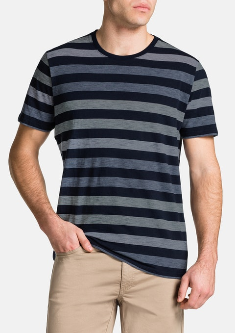 Navy Angus Stripe Crew Neck Tee