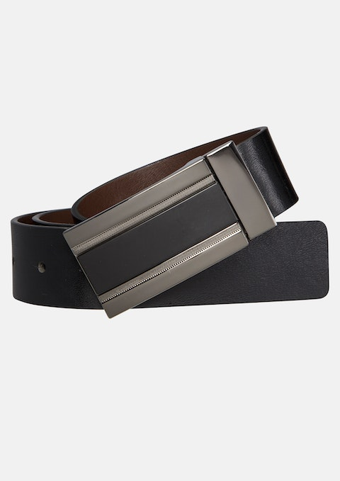 Choc/blk Box Reversible Belt