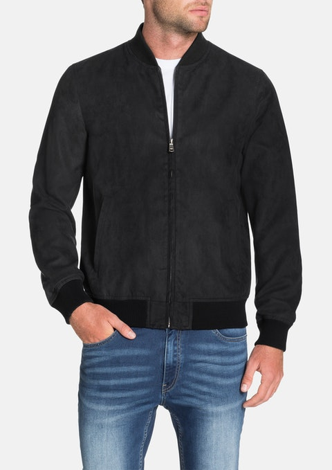 Black Ryan Faux Suede Bomber