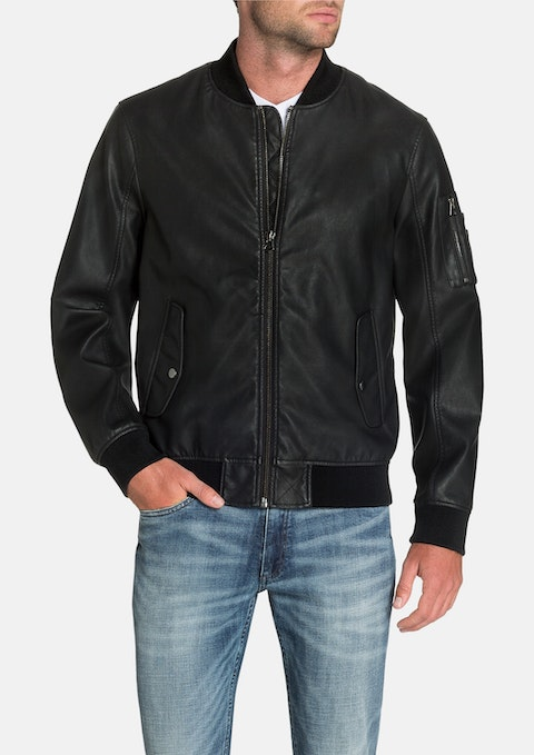 Black Sheldon Faux Leather Bomber