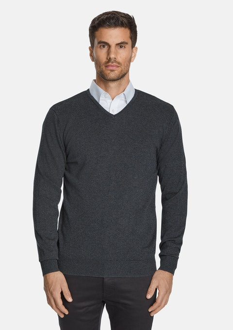 Charcoal Essential V-neck Knit