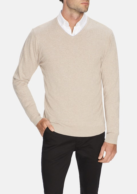 Mocha Essential V-neck Knit
