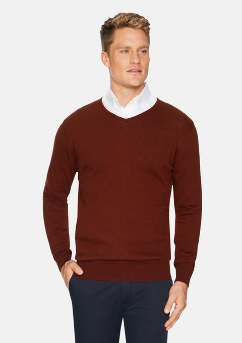 Rust Essential V-neck Knit