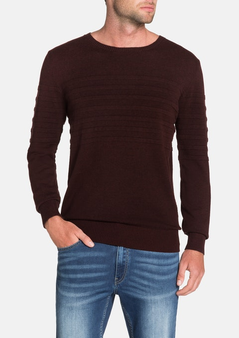 Burgundy Roterdam Panel Rib Knit