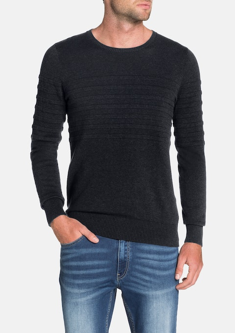 Navy Roterdam Panel Rib Knit