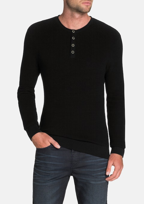 Black Fleetwood Henley Knit