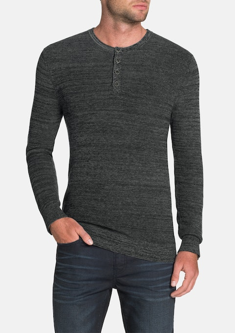 Charcoal Fleetwood Henley Knit