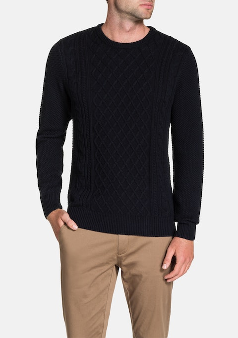 Navy Crew Neck Cable Knit