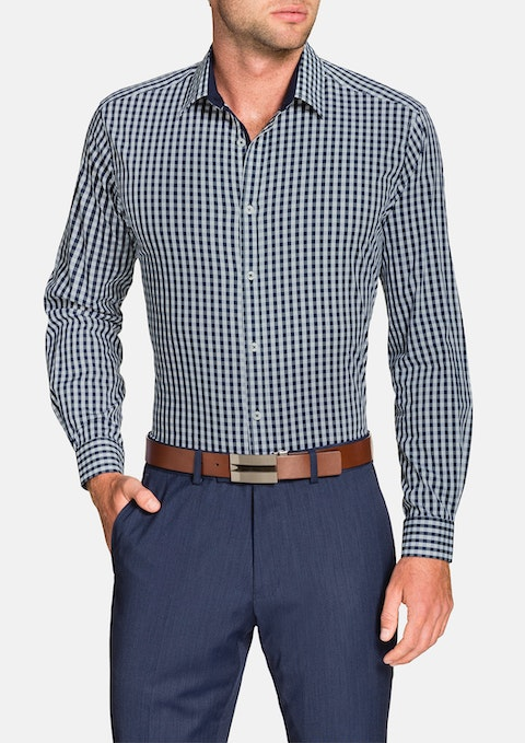 Navy Gingham Check Stretch Shirt