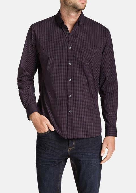 Aubergine Blake Stretch Check Shirt