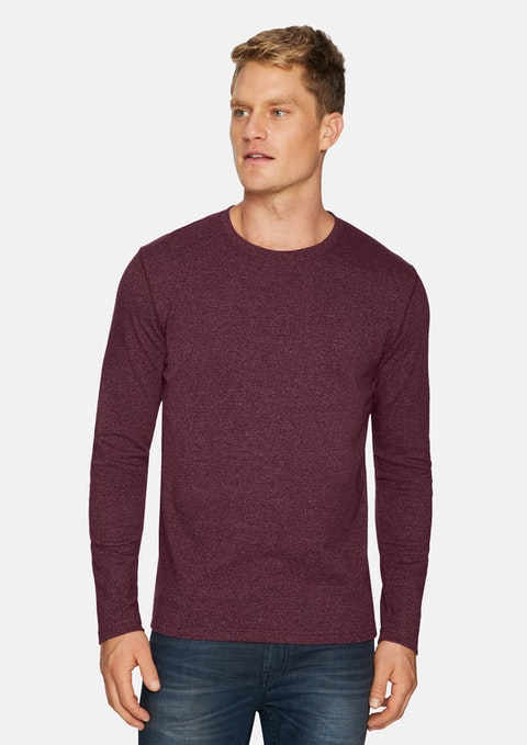 Burgundy Dominic Crew Stripe Tee