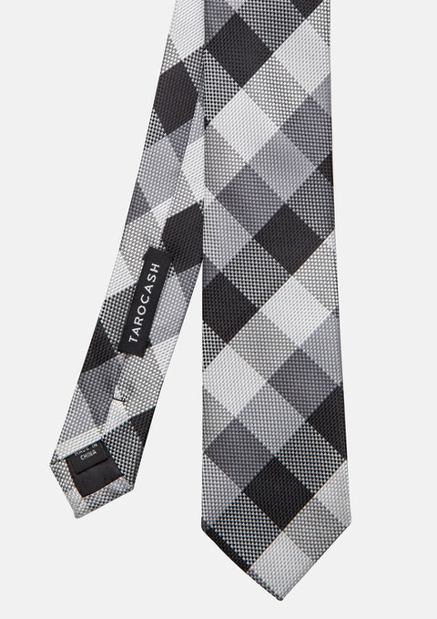 Black Large Check Tie