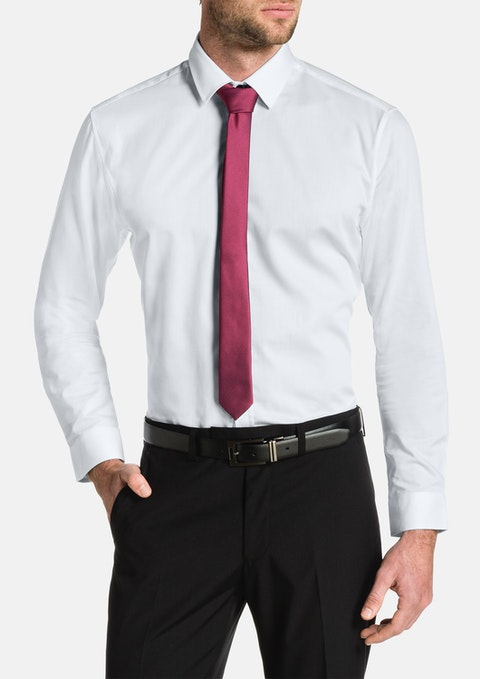 White Cyrus Slim Textured Dress Shirt