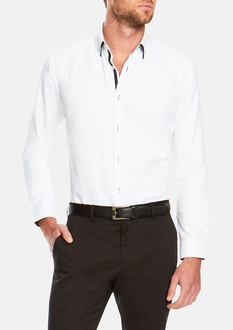White Premium Slim Textured Shirt