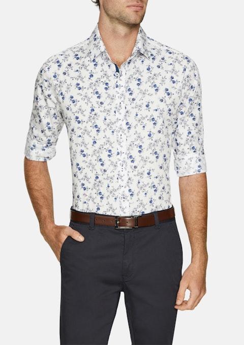 Blue Botanical Slim Print Shirt