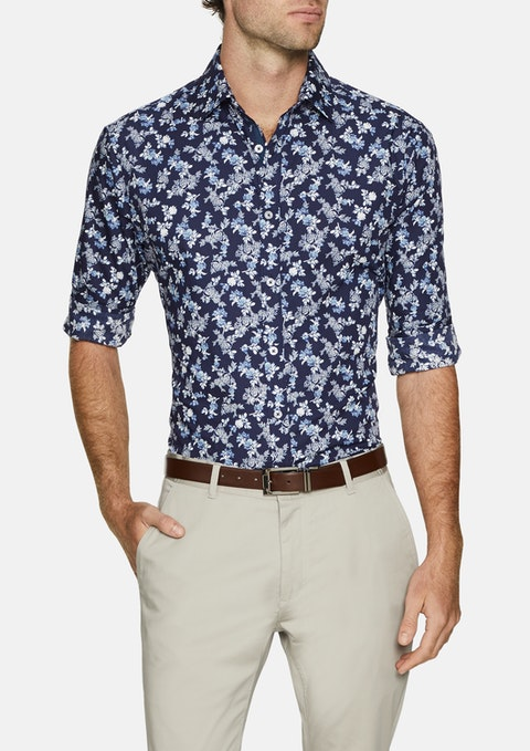 Navy Botanical Slim Print Shirt