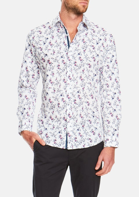 White Botanical Slim Print Shirt