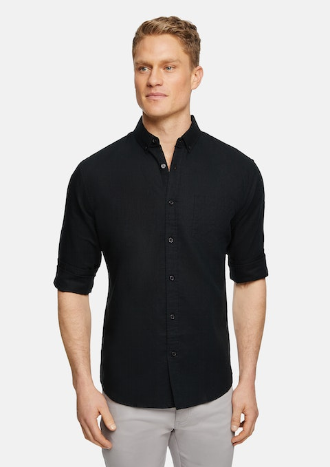 Black Elliott Linen Blend Shirt