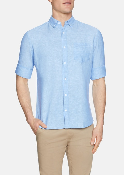 Ice Blue Elliot Linen Shirt
