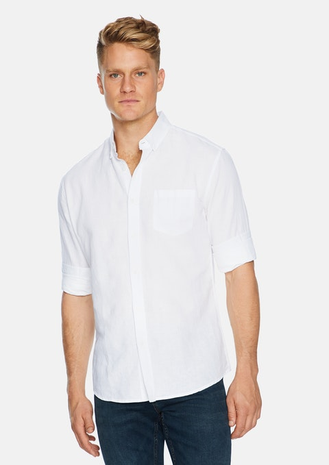 White Elliott Linen Blend Shirt