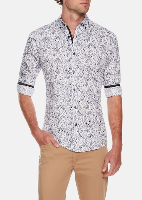 Navy Abby Road Slim Print Shirt