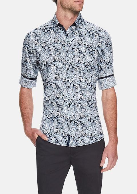 Blue Ringo Paisley Slim Print Shirt
