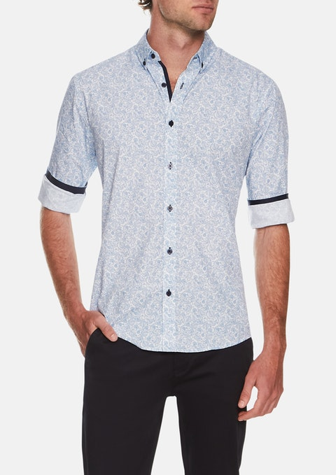 Blue George Paisley Print Shirt
