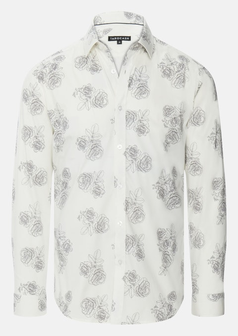 Ivory Sketch Stretch Slim Floral Shirt