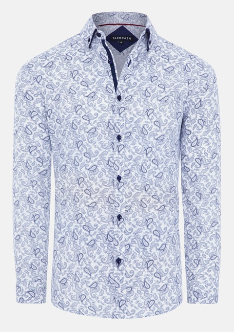 White Mystic Slim Paisley Print Shirt