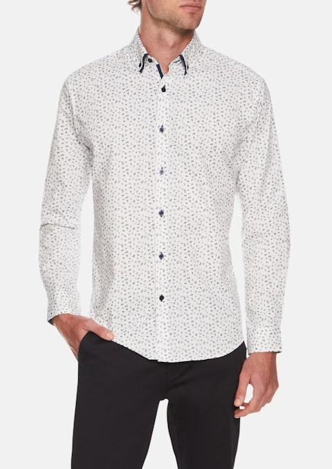 White Draper Stretch Floral Print Shirt