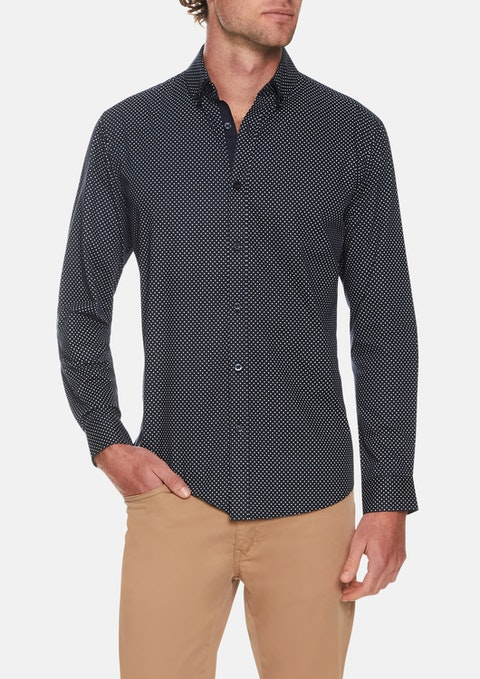 Navy Simple Circle Print Shirt