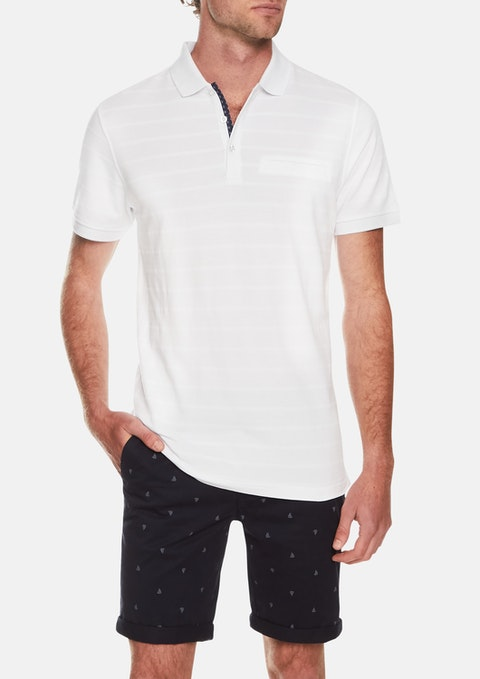 White Jacquard Stripe Polo