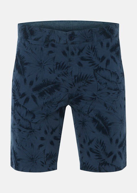 Blue Palm Stretch Print Short