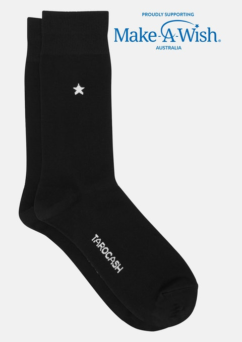 Black Make-a-wish Star Sock