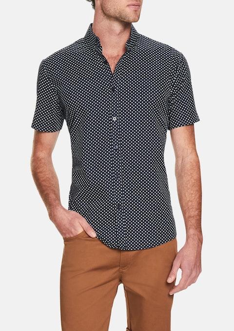 Navy Square Print Shirt