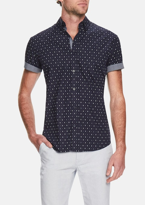 Blue Anchor Print Shirt