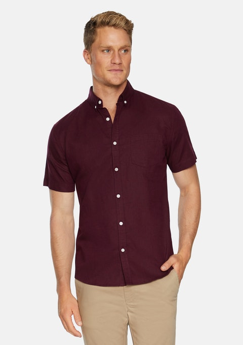 Burgundy Peterson Linen Shirt