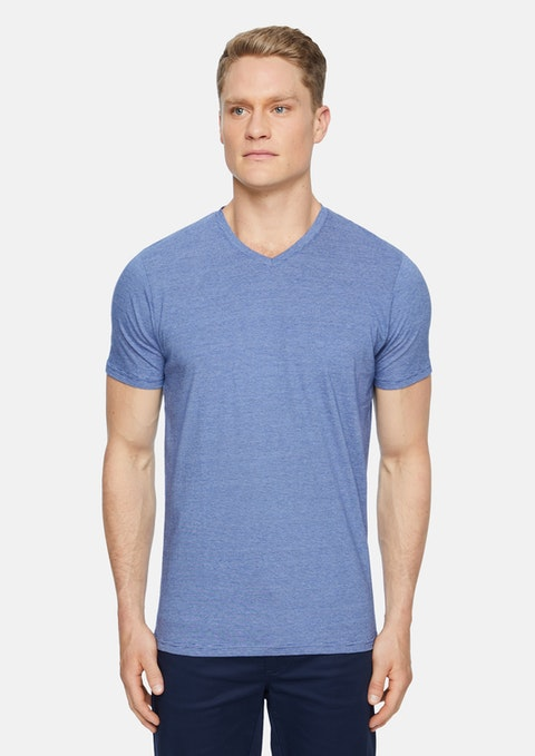 Blue Kraft Stripe V Neck Tee