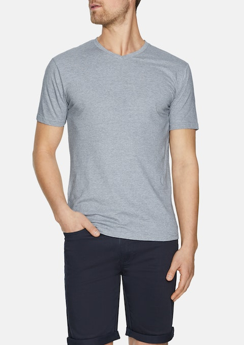 Grey Kraft Stripe V Neck Tee