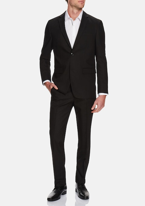 Black Vice Textured 2 Button Suit