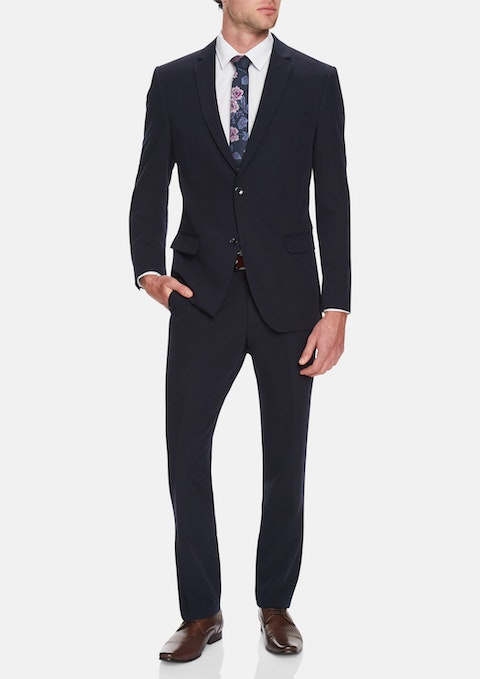 Navy Akroyd  Stretch 2 Button Suit