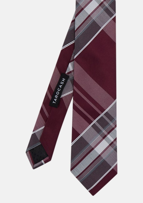 Burgundy Large Check Tie